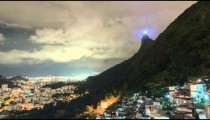 Time lapse of clouds obscuring Rio de Janeiro's Christ statue