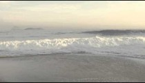 Waves crashing on Ipanema beach