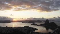 Panning shot of sunset over Rio de Janeiro, Brazil