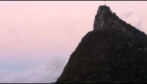 Panning shot of Corcovado and Christ statue in Rio de Janeiro, Brazil