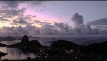 Panning shot of Rio de Janeiro from lookout point at dusk