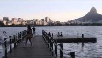 RIO - JUNE 18: People on a lake dock on June 18, 2013, in Rio de Janeiro.