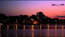 Slow pan of downtown Rio De Janeiro at dusk