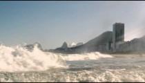 Footage of the Atlantic Ocean charging into the shoreline - Rio de Janeiro, Brazil.