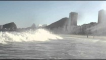 The waves of the Atlantic Ocean crashing into a beach in Rio de Janeiro.