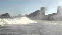 The waves of the Atlantic Ocean crashing into a beach in Rio de Janeiro.