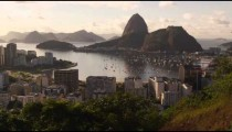 Pan shot of Rio de Janeiro and the Ocean.