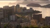 A city view of Rio de Janeiro and traffic on Avenida das Nacoes Unida.