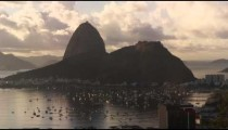 Time-lapse tracking shot of boats moving in Botafogo Bay.