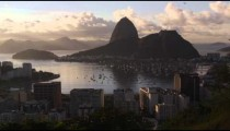 Sugar Loaf mountain and Botafogo Bay from a park overlooking Rio de Janeiro, Brazil.