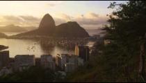 Tracking shot of Botafogo Bay and Sugarloaf mountain - Rio de Janeiro, Brazil.