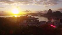Tracking footage with solar flare of Rio de Janeiro's sunshine.