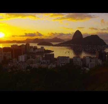 Setting sun over Botafogo Bay and Atlantic Ocean.