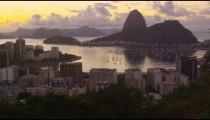 Tracking shot of Botafogo Bay, Sugarloaf, Rio de Janeiro, and Atlantic Ocean.