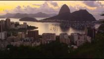 Tracking shot of a city view of Rio de Janeiro and Botafogo Bay.