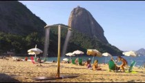 Slow motion shot of people on a Rio beach.