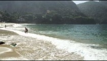 Slow motion of waves crashing at Red Beach in Rio.