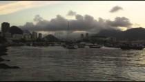 Pan of Guanabara Bay in Rio at dusk.