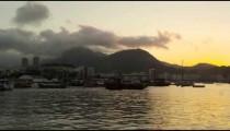 Static shot of Guanabara Bay at Rio at dusk.