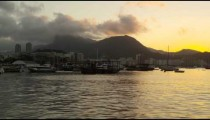 Static shot of Guanabara Bay at Rio at dusk.