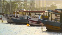 Static shot of fishing boats in Rio.