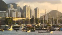 A static shot of boats docked at Marina da Gloria in Rio de Janeiro at evening,