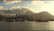 Static shot of boats at harbor in Guanabara Bay,