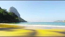 Slow motion shot of waves on Red Beach in Rio.