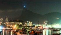 Sped up view of the city lights from Rio's waterfront.