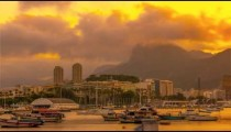 Sped up view of boats on Guanabara Bay in Rio.