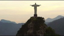 Shot of the Cristo Redentor statue from a circling helicopter, in Rio de Janeiro, Brazil.