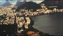 Tracking shot of Rio de Janeiro taken from a helicopter.