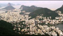 Tracking shot taken from a helicopter high above Rio de Janeiro.
