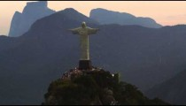 Amazing tracking shot of Christ the Redeemer monument in Rio de Janeiro.