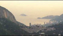Shot out of the back of a helicopter of Rio de Janeiro between