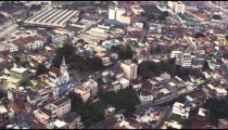 Aerial shot of Rio de Janiero's downtown, with a train station visible in the top left.