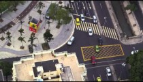 An slow-motion aerial view of cars on a busy Rio street.