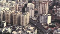 An aerial view of the crowded business district of downtown Rio de Janeiro.