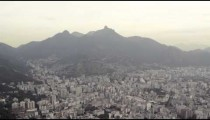An aerial panoramic view of the skyline of Rio with it's mountains in the distance.
