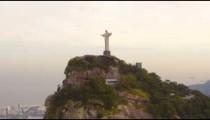 Aerial pan of Rio de Janeiro's landmark Cristo Redentor.