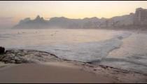 Sunset pan from Rio de Janeiro shore to Atlantic ocean.