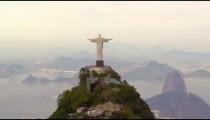 East facing aerial of Rio de Janeiro's landmark Statue of Christ.