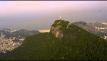 Distant aerial of Christ the Redeemer in Rio de Janeiro.