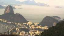 Helicopter shot of Rio's Sugarloaf Mountain and Guanabara bay