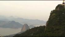Hovering helicopter shot of Cristo Redentor, in Rio, Brazil.