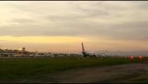 Panning shot of plane preparing for take off at the Jacarepagu