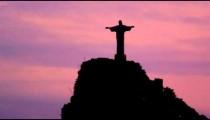 Static shot of the silhouette of Cristo Redentor in Rio de Janeiro, Brazil