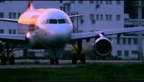 RIO DE JANEIRO, BRAZIL - JUNE 21: Close up of plane turning on tarmac of airport, Rio de Janeiro