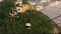 Shot of gondola going down the mountain in Rio de Janeiro, Brazil