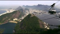 Shot of cable car going up the mountain in Rio de Janeiro, Brazil